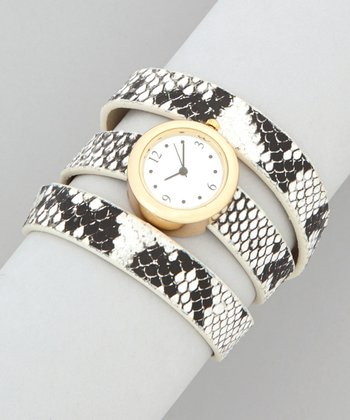 White & Black Snakeskin Triple Band Watch