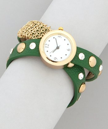 Green & Gold Studded Chain Wrap Band Watch