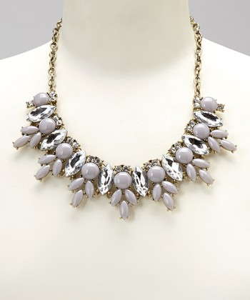 Gray Crystal Pavé Bib Necklace