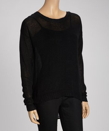 Black Ribbed Button-Back Scoop Neck Sweater