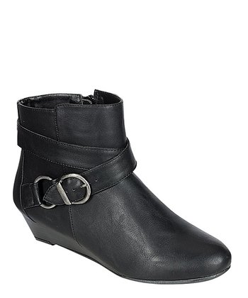 Black Buckle Wedge Bootie