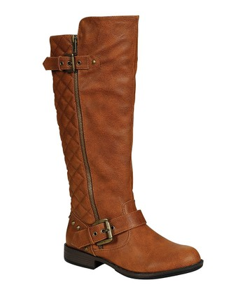 Chestnut Quilted Stud Boot