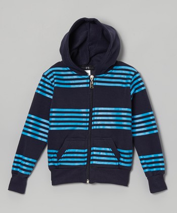 Blue Stripe Zip-Up Hoodie - Toddler & Boys