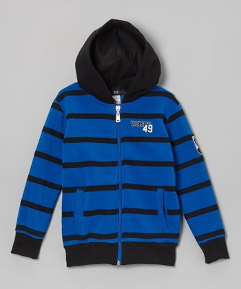 Blue & Black Stripe Zip-Up Hoodie - Toddler & Boys