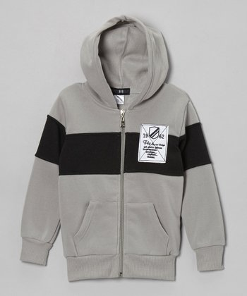 Gray Color Block Zip-Up Hoodie - Toddler & Boys
