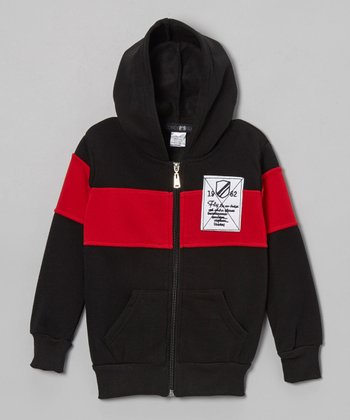 Black & Red Color Block Zip-Up Hoodie - Toddler & Boys