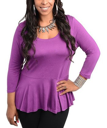 Purple Peplum Top - Plus