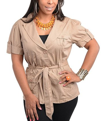 Khaki Short-Sleeve Belted Jacket - Plus