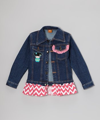 Hot Pink Baby Dolls Ruffle Denim Jacket - Toddler & Girls