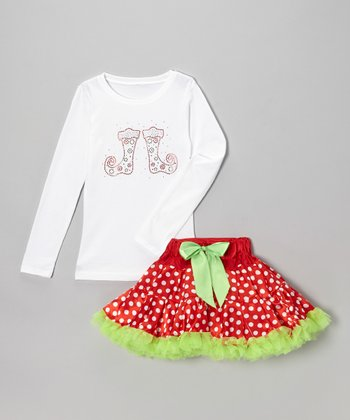 White Stocking Tee & Red Dot Pettiskirt - Infant, Toddler & Girls