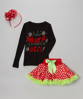 Black 'Dear Santa' Tee & Red Dot Pettiskirt - Toddler & Girls