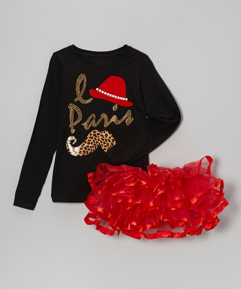 Black 'Le Paris' Mustache Tee & Red Pettiskirt - Toddler & Girls