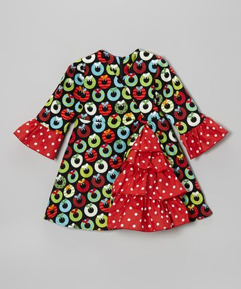 Black & Red Wreath A-Line Dress - Toddler & Girls