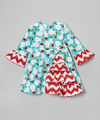 Teal Snowman A-Line Dress - Toddler & Girls