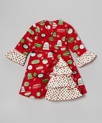 Red Ornament A-Line Dress - Toddler & Girls