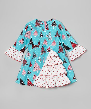 Teal Christmas Tree A-Line Dress - Toddler & Girls