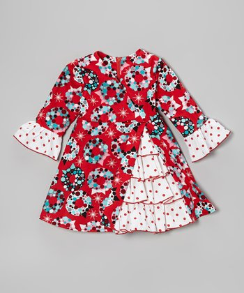 Red Wreath A-Line Dress - Toddler & Girls