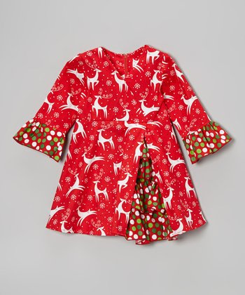 Red Reindeer A-Line Dress - Toddler & Girls