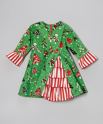 Green Christmas Tree Ruffle Dress - Toddler & Girls