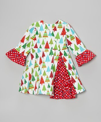 White & Red Christmas Tree Ruffle Dress - Toddler & Girls