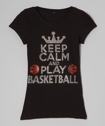 Black Rhinestone 'Keep Calm and Play' Tee - Women & Plus