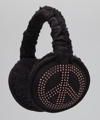 Black Rhinestone Peace Earmuffs