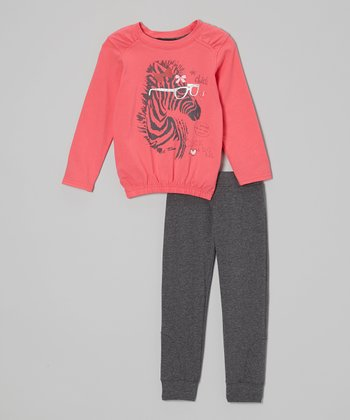 Red Zebra Top & Gray Pants - Toddler & Girls