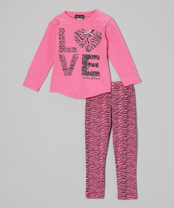 Hot Pink Sparkle 'Love' Top & Zebra Pants - Toddler & Girls