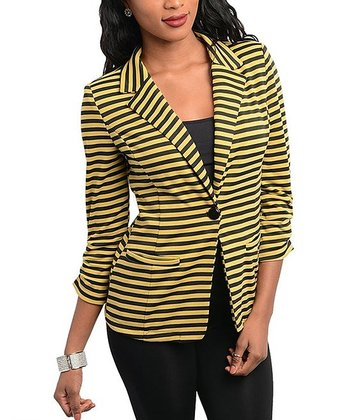 Black & Yellow Stripe Blazer