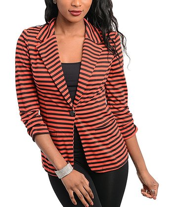 Black & Orange Stripe Blazer