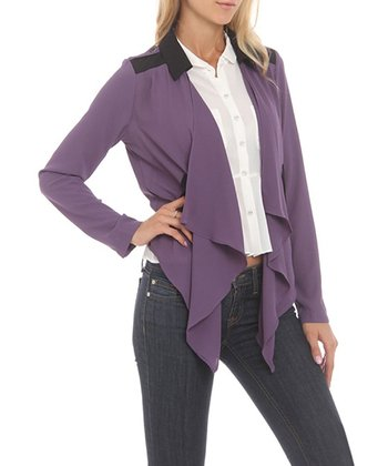 Purple & Black Collar Open Cardigan