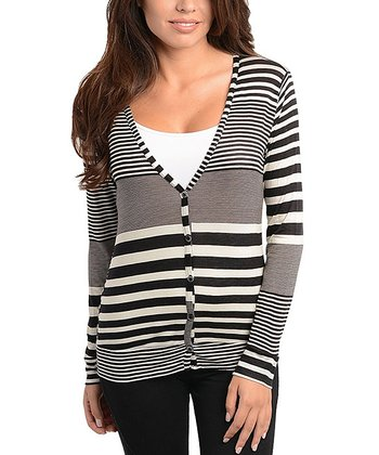 Ivory & Black Stripe Cardigan