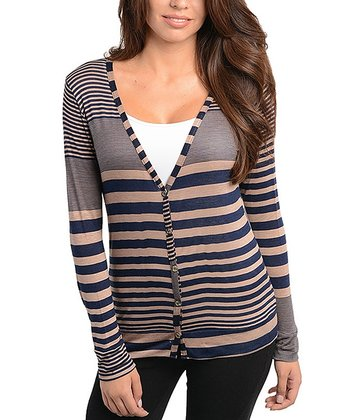 Mocha & Navy Stripe Cardigan
