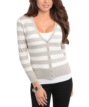 Gray & Ivory Stripe Ribbed Cardigan