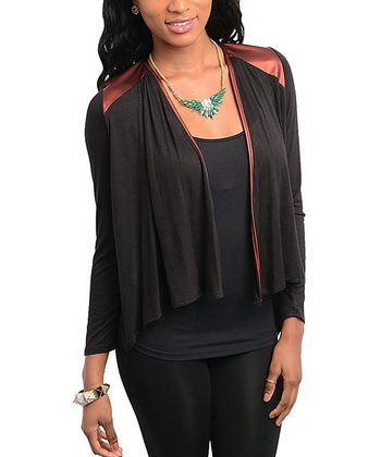 Wine & Black Metallic Open Cardigan