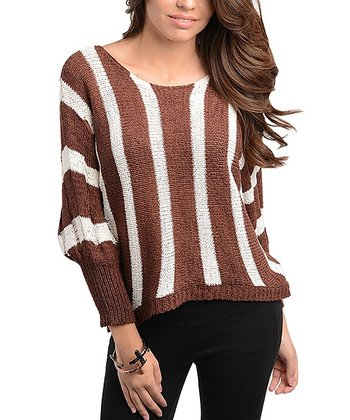 Coffee & Ivory Stripe Scoop Neck Sweater