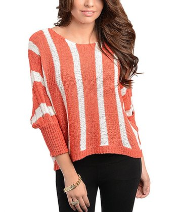 Coral & Ivory Stripe Scoop Neck Sweater