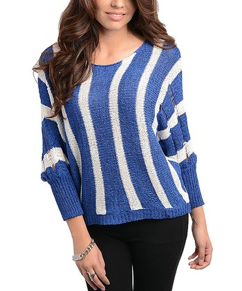 Royal Blue & Ivory Stripe Scoop Neck Sweater