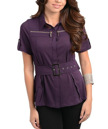 Dark Purple Belted Short-Sleeve Button-Up