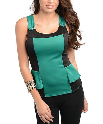 Green & Black Color Block Peplum Top