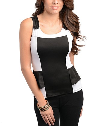 White & Black Color Block Peplum Top