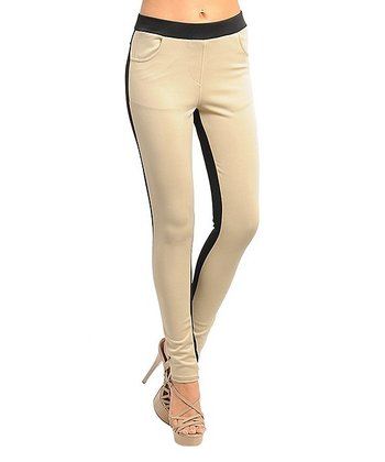 Beige & Black Color Block Stretch Skinny Pants