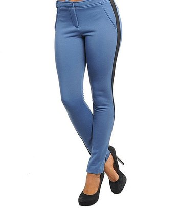 Indigo & Black Color Block Skinny Pants