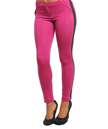 Magenta & Black Color Block Skinny Pants