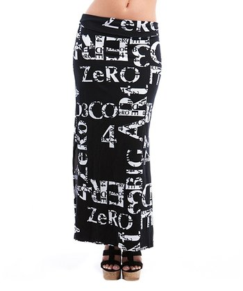 Black & White Typographic Maxi Skirt