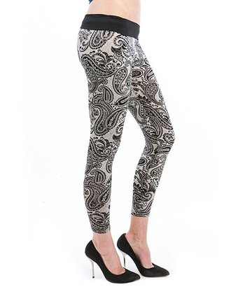 Cream & Black Paisley Leggings