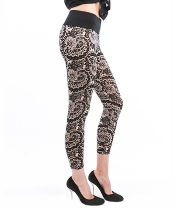 Khaki & Black Paisley Leggings