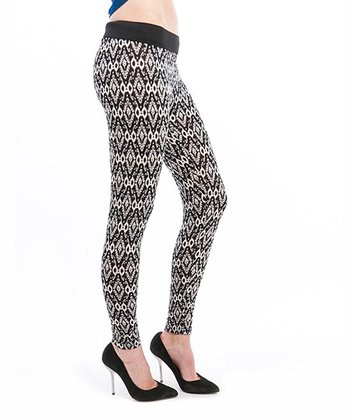 Cream & Black Diamond Leggings
