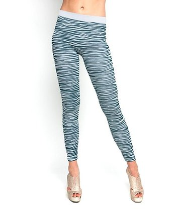 Green & White Zebra Leggings