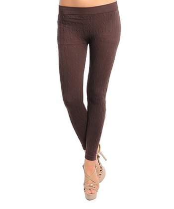 Brown Cable Knit Leggings